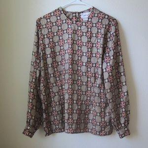 Worthington silky tunic blouse lucky coin prints